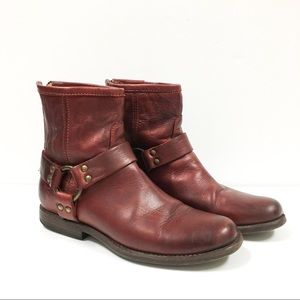 Frye Phillip Red Harness Ankle Boots Size 6B